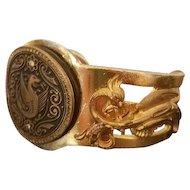 ALBERT FLAMAND PARIS, Ornate Fladium Dragon Cuff Bracelet c 1934