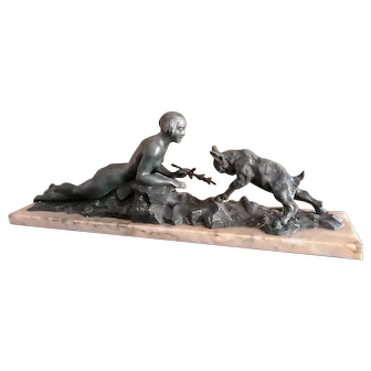 French Art Deco Statue on Marble; Nude Lady Playing with Goat, c. 1925
