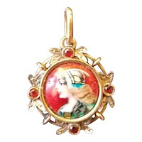 Camille Fauré French 18K Gold, Garnets, Art Deco Enamel Pendant of Beautiful Woman, c. 1925