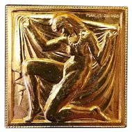 French Art Deco Marcel Renard Brooch of Nude Woman in Pearls with Drape c. 1925