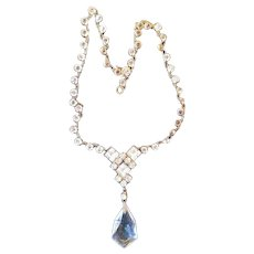 French Art Deco Crystal Necklace in Original Box, 1920s