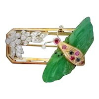 Art Moderne Jade, Diamonds, 14K Gold, Rubies, Sapphires Butterfly, Flowers Brooch