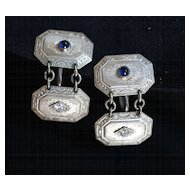Fabulous Art Deco Platinum, Diamond, Sapphire Earrings or Cufflinks with Provenance, c 1924