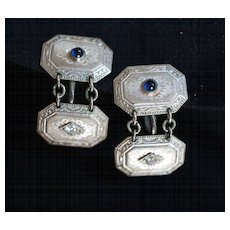 Fabulous Art Deco Platinum, Diamond, Sapphire Earrings or Cufflinks with Provenance, c 1924