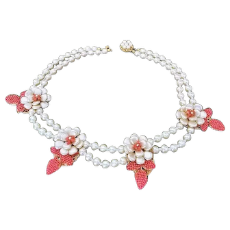Ornate Vintage Miriam Haskell Flower Necklace, Faux Pearls, Coral Seed Pearls