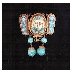 Art Deco, Czech and Peking Glass, Egyptian Brooch, Pharaoh, Sarcophagus, c. 1925