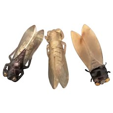 3 Large Art Deco French Cricket Bug Brooches, Pins, Celluloid, Marbled Plastic