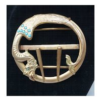 Art Nouveau Jeweled Winged Serpent, Griffin, Dragon Belt Buckle c 1910