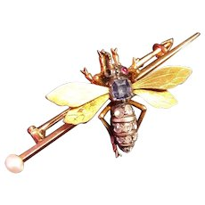 Antique French 18K Gold, Diamonds, Ruby, Sapphire Bumblebee Insect Brooch