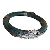 Jade Bangle Bracelet with 800 Silver Dragons