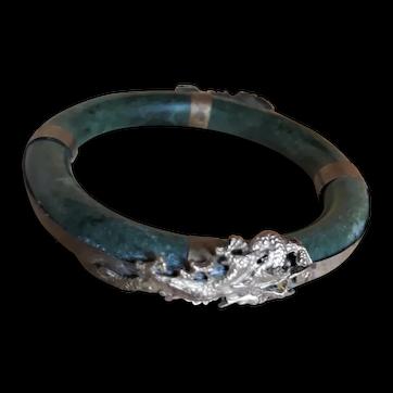 Jade Bangle Bracelet with 800 Silver Dragons