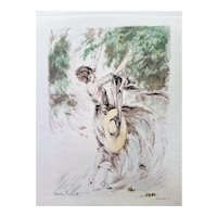 Louis Icart French Art Deco Etching of Beautiful Woman Picking Apples 1920s RARE