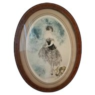 Louis Icart 1925 French Etching, Semi Nude, Original Frame, Spilled Milk