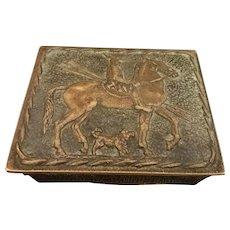 French Art Deco Max LeVerrier Ornate Bronze Box, Macedonian Horseman c. 1926