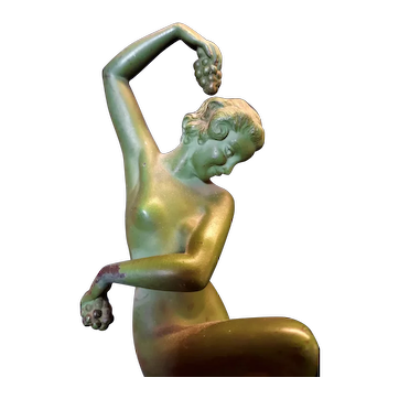 French Art Deco Nude Dancing Woman with Wine Grapes, Denis for Max Le Verrier c. 1925