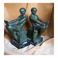 Exquisite French Art Deco Max Le Verrier Nude Ladies Bookends, c 1920