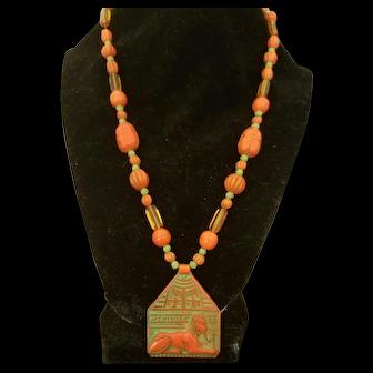Art Deco Czech Glass Egyptian Revival Necklace; Sphynx, Scarabs, c. 1925
