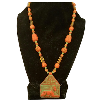 Art Deco Czech Glass Egyptian Revival Necklace; Sphynx, Scarabs, c. 1925