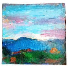 Akos Biro French Expressionist Oil Painting of Sunset, c. 1950s