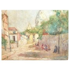 French Oil Painting of Montmarte Paris, by Marthe Orant c. 1900