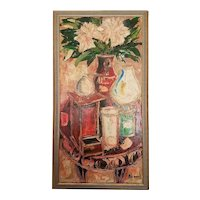 Large Mid 20th Century Modernist Still Life Oil Painting of Flowers, Lanterns, Vases on Table, sgned Milko