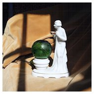 ART DECO Semi Nude Lady Porcelain Perfume Lamp, Original Etched Globe