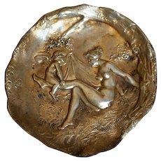 French Art Nouveau Bronze Vide Poche Joe Descomps (Cormier) Nude and Cupid c. 1890