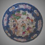 1790 Chinese Export Mandarin Saucer Dish