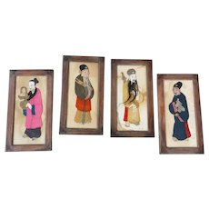 c.1900 Set of 4 Chinese Framed Fabric Nobles