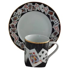 Tiffany Playing Card Luncheon Set for 4, Plates & Mugs