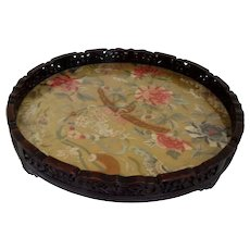 Rare 19th Century Chinese Silk Embroidery/ Rosewood Gallery Tray