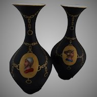 Pair of 19th Century French Roman Revival Portrait Vases with Black Ground
