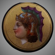 19th Century French Roman Revival Portrait Plate with Black Ground
