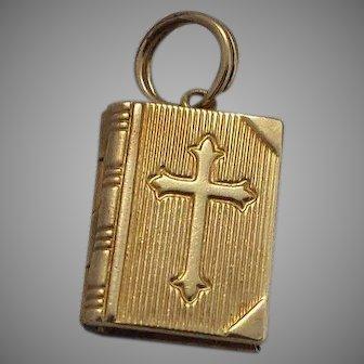 14k Gold Prayer Book (Bible) Mechanical Charm Lord's Prayer