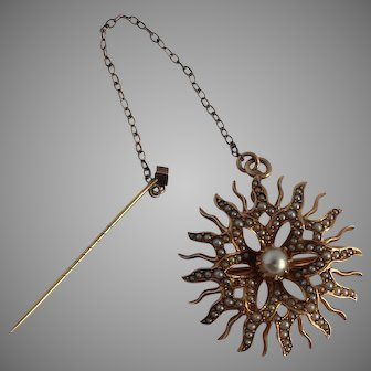 Victorian 14k Gold with Seed Pearls Sunburst Brooch / Pendant with safety chain and pin