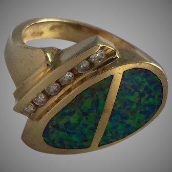 Modernist Opal and Diamond 14k Gold Ring