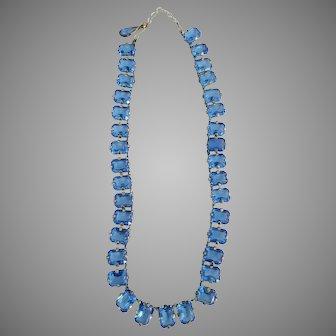 1930's Art Deco Czech Blue Crystal open back Necklace