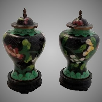 Pair of Antique Miniature Chinese Cloisonne Vases with Lids on Original Wooden Stands.