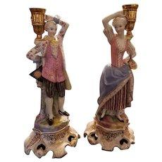 """17"""" Pair Antique Old Paris Figural Candlesticks."""