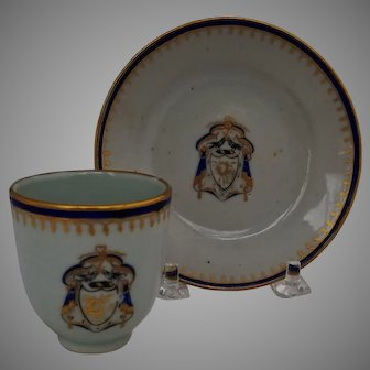Chinese Export Psuedo Armorial Cup and Saucer from Child's Toy Set c.1820