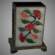 1890 Chinese Jade and Enamel Standing Match Box