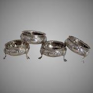 1872 Set of 4 English Sterling Silver Repousse Salt Cellars