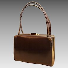 Adrienne Small Vintage Handbag-Rich Brown Leather-Mirror & Change Purse Too!