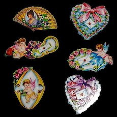 6 Vintage Scrapbook Cut-outs 3 Valentine with Cupid, 2 Hearts, Lady in Fan