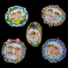 5 Vintage Scrapbook Cut-outs Cupids with Flowers