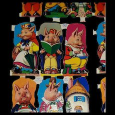 Full Sheet Vintage Cut-outs MLP #1219 Pigs and House