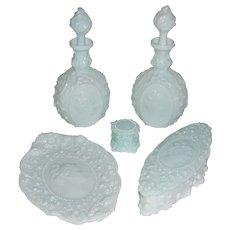 Fostoria Glass Jenny Lind Milk Glass Dresser Set