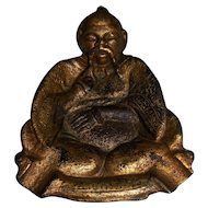 Gilted Cast Iron Asian Figural Pipe Rest, Ashtray