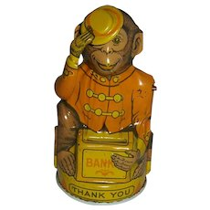 Vintage J. Chein Tin Monkey Bank c.1935