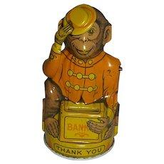 Vintage J. Chein Tin Monkey Bank c.1935